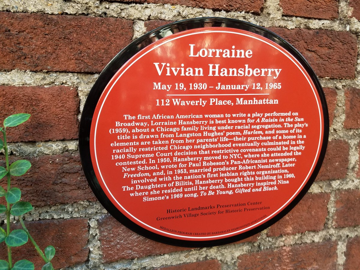 Image result for lorraine hansberry plaque waverly place