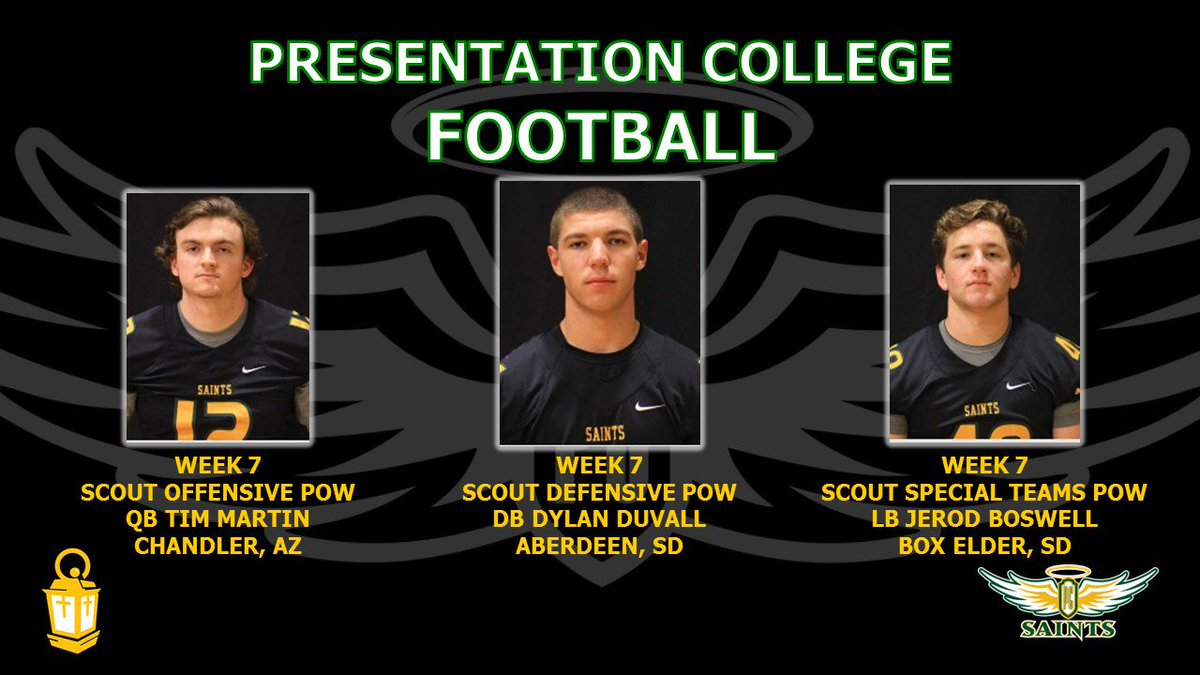 PC Saints Football Week 7 Scout Team Players of the Week vs University of Jamestown! #PCSAINTS #SERVICE <br>http://pic.twitter.com/26SmePKZMG