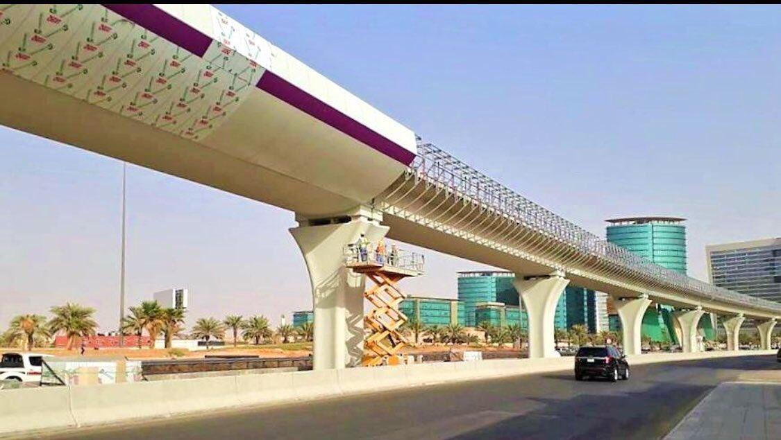 أعمال تكسية جسور #قطار_الرياض على المسار البنفسجي