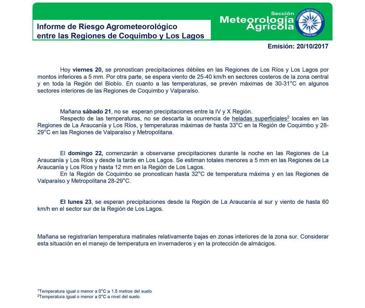 INFORME #Agrometeorológico desde Coquimbo a LosLagos #precipitaciones en la zonasur #temperaturas @MinagriCL @MundoAgropecuar @AgriculturaFM  https://t.co/uJsHJOhQve