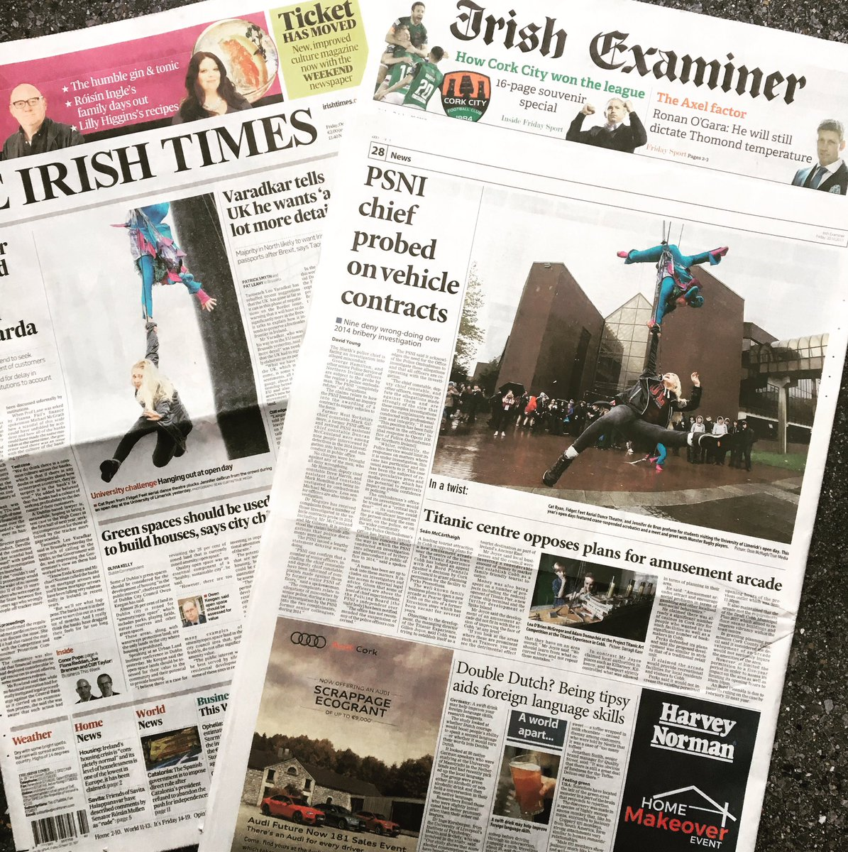 Front page of the @IrishTimes and back page of the @irishexaminer with @UL open day and @fidgetfeetdance #wearetruemedia #studyatul <br>http://pic.twitter.com/PnJvaRU6cs