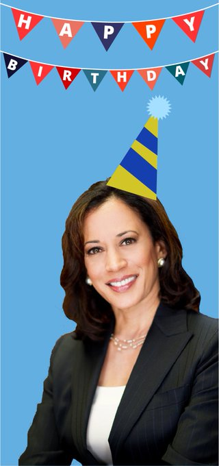 Wishing a happy birthday to the wonderful senator from California, Kamala Harris