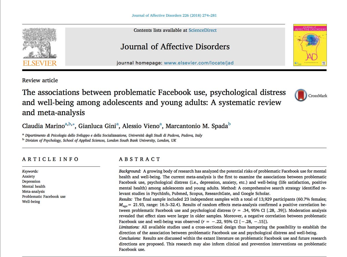 A new meta-analysis examining the link between #Facebook and #wellbeing! Let me explain why it cannot tell us much about anything (1/n) <br>http://pic.twitter.com/Jk7deTtgST