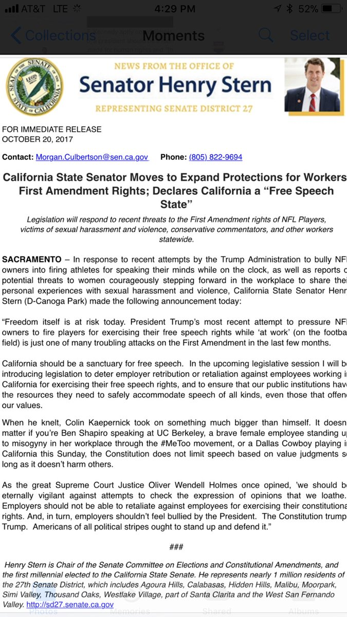 "California State Senator moves to expand protections for workers' First Amendment rights; declares California a ""Free Speech State""."