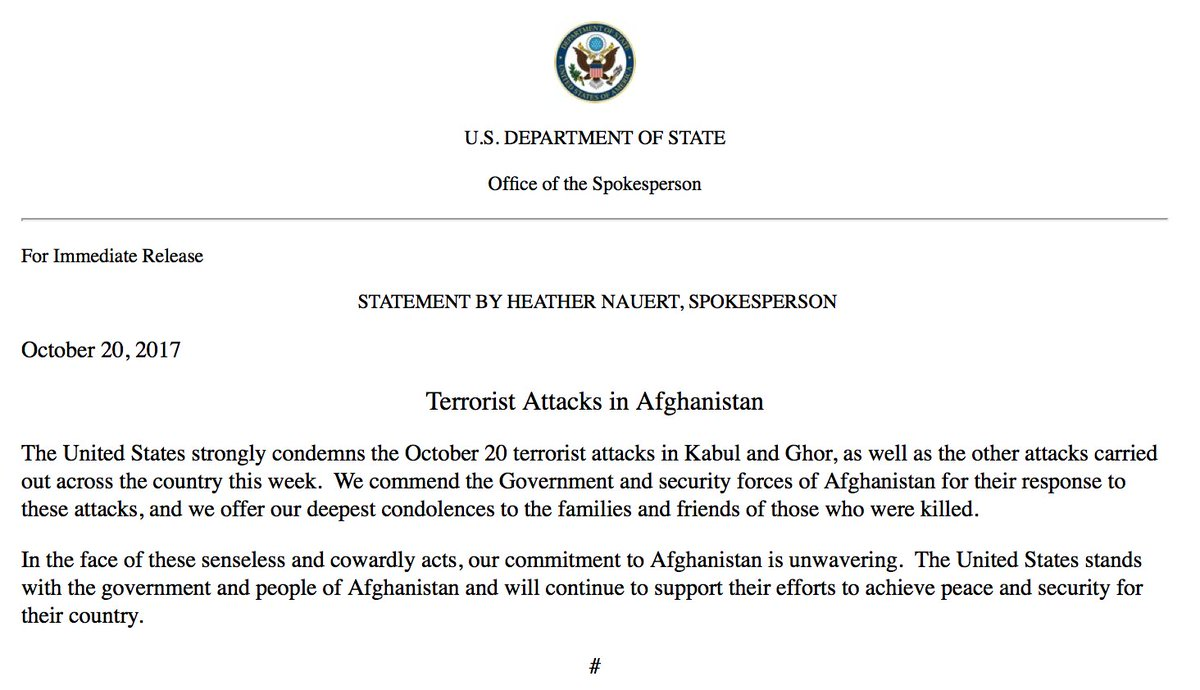 State Dept. on Afghanistan attacks: 'In the face of these senseless and cowardly acts, our commitment to Afghanistan is unwavering.'