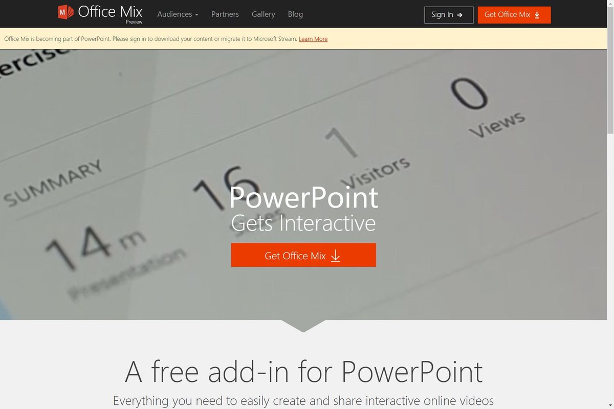 Office Mix is becoming part of PowerPoint. Here&#39;s what you need to know:  https:// support.office.com/en-us/article/ Migrate-your-content-from-Office-Mix-c1c04f84-a7bb-4602-9645-258017155258?ui=en-US&amp;rs=en-US&amp;ad=US &nbsp; …  #mieexpert #edtech #elearning <br>http://pic.twitter.com/ti4NQHSFxK