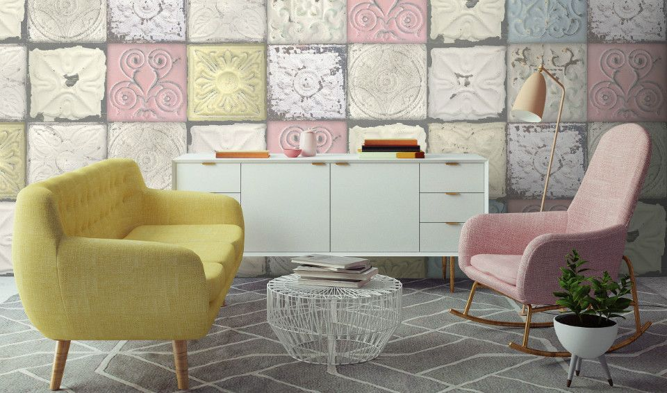 Lime Lace Interiors On Twitter Our Fab Tin Tile Wallpaper