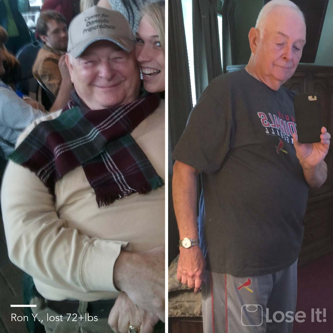 Meet Ron, a retired police detective from St. Louis, grandfather, cancer survivor, & total inspiration! Update: He's 80 pounds ⬇️ 🤗