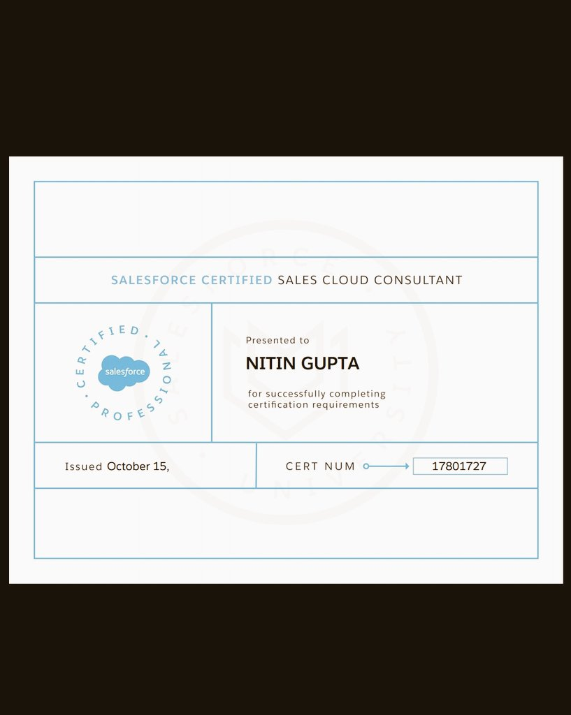 Nitin Gupta On Twitter Got My Sales Cloud Consultant
