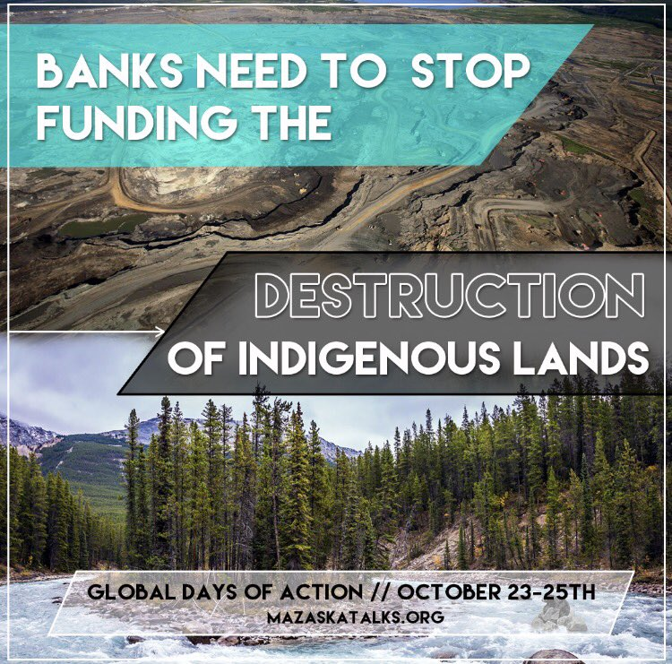 92 banks around the world will meet Monday to discuss indigenous peoples rights. Join an action near you at  http:// MazaskaTalks.org  &nbsp;   #Divest <br>http://pic.twitter.com/dSB2YM3Vl8