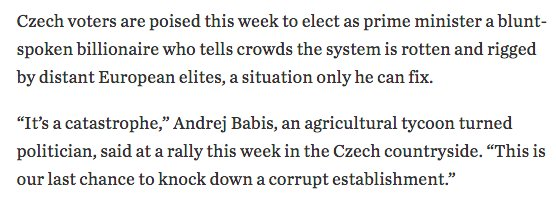 The Czechs look like they're going to elect their own Trump. https://t.co/5MLbel3Io2