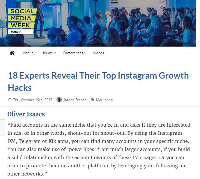 Want to grow on Instagram? Check the below article for some excellent advice! #instagram #socialmedia #instagrammer   https:// socialmediaweek.org/blog/2017/10/1 8-experts-reveal-top-instagram-growth-hacks/ &nbsp; … <br>http://pic.twitter.com/IzD2zfD7xq