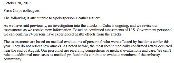NEW: State Department says 24 individuals who work at US embassy in Havana have been impacted by health attacks https://t.co/rZLOshILpx