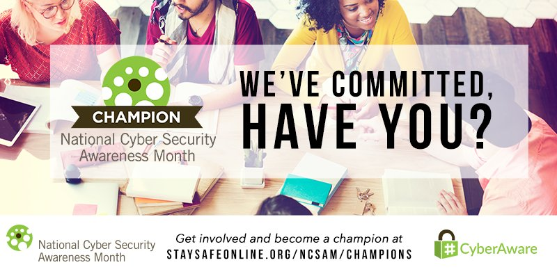 Have you committed to making the #internet safer and more secure for everyone? Become a #CyberAware Champion!  https:// staysafeonline.org/ncsam/champions  &nbsp;  <br>http://pic.twitter.com/NjUsI60DM3