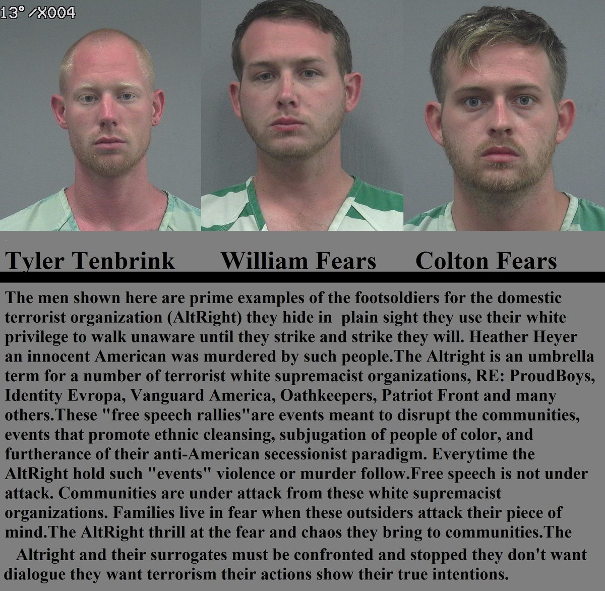 #BreakingNews Three #AltRight terrorists were arrested for attempted murder after the #RichardSpencer hate rally. Families are in danger.<br>http://pic.twitter.com/ANnxENZDXi