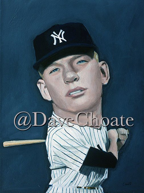 PAINTING. Happy Birthday, to Yankees legend, Mickey Mantle.