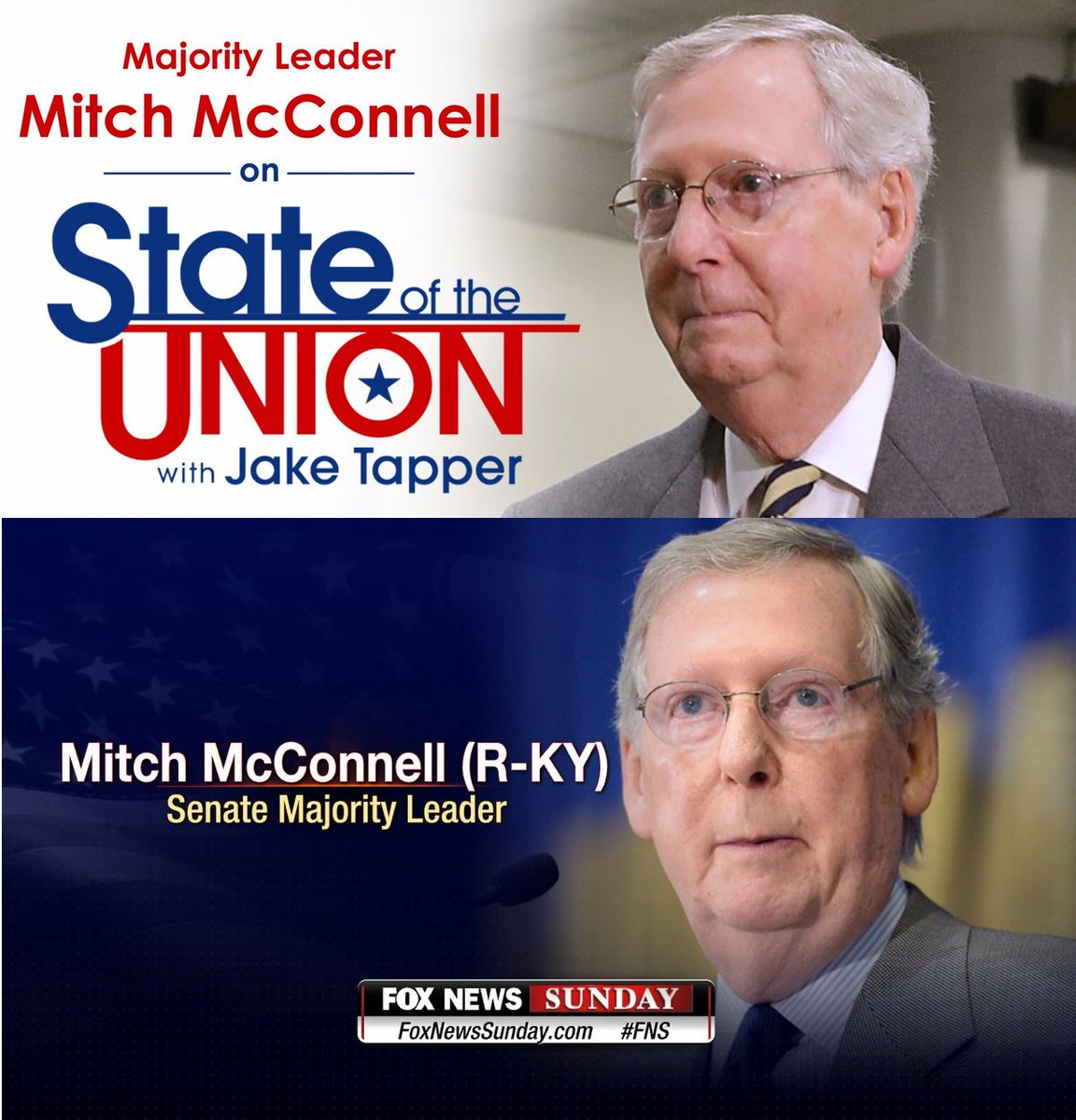 .@SenateMajLdr McConnell will appear on @FoxNewsSunday &  on @CNNSotuSunday. Check local listings for broadcast times in #Kentucky