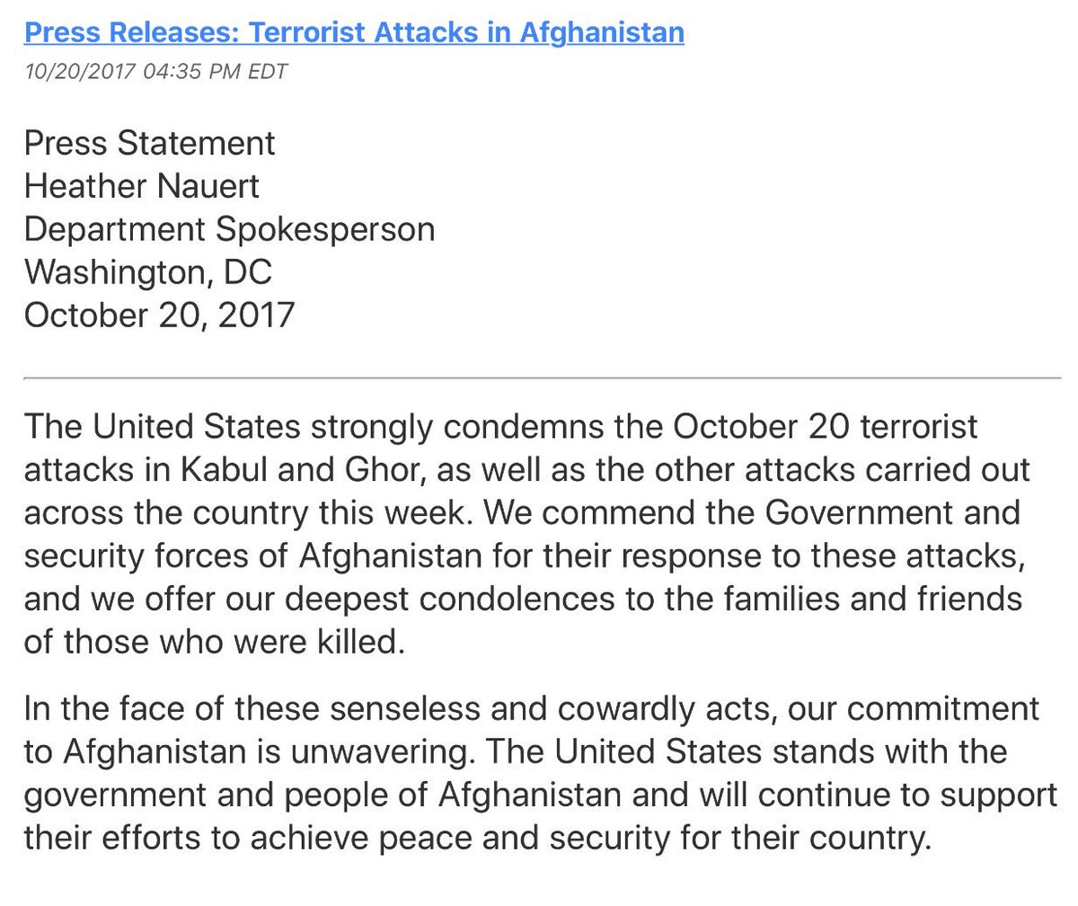 US strongly condemns today's two terrorist attacks in #Afghanistan. https://t.co/caaVSa4UH6