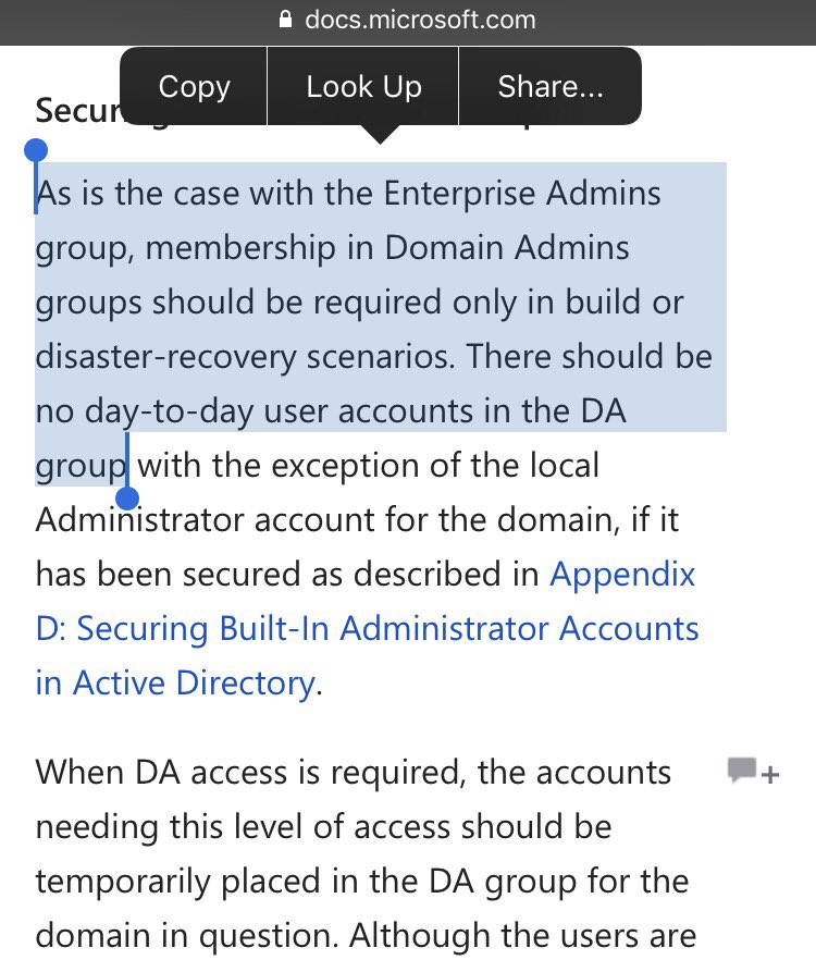 Next time you grab that account belonging to a DA group reference this in your report. Pure gold from #microsoft  https:// docs.microsoft.com/en-us/windows- server/identity/ad-ds/plan/security-best-practices/implementing-least-privilege-administrative-models &nbsp; … <br>http://pic.twitter.com/xmUB8FZoVK