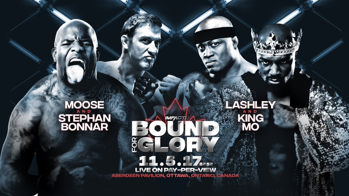 So at #BFG2017 its @TheMooseNation @StephanBonnar vs @KingMoFH @fightbobby @IMPACTonSPIKE<br>http://pic.twitter.com/sN17dwGe7a