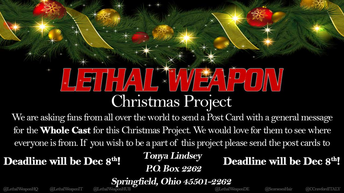 just wanted to remind the lethalweapon fans we have a christmas project going on now please read both graphic carefully please rtshare wother fans - Lethal Weapon Christmas
