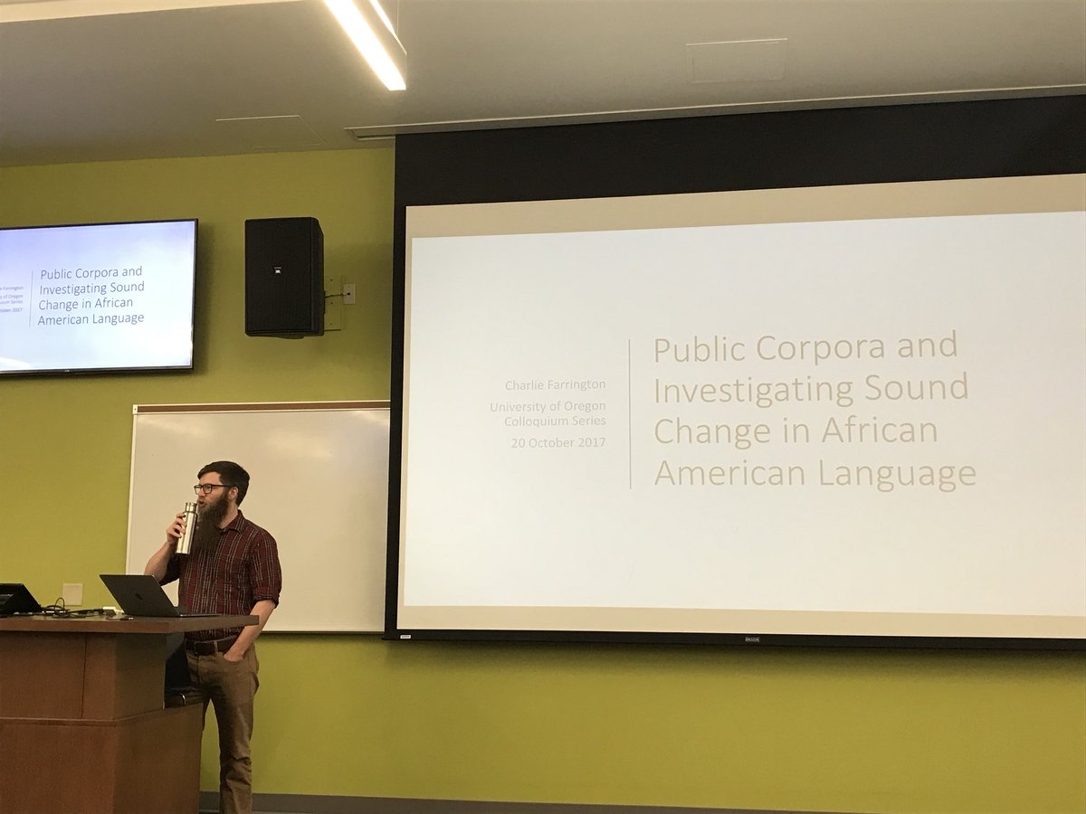 "Today we have #linguistics grad student Charlie Farrington giving today's colloquium on ""Public corpora and investigating sound change in African American Language"" #aave #corpuslinguistics @crfarrington1<br>http://pic.twitter.com/XFmPIRUTYv"