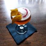 Sayuri's Spirit - Gin, Sloe gin,  Crème de Violette, lemon juice, egg whiten, lemon cordial, @Bittered_Sling Shanghai rhubarb bitters. #yvr