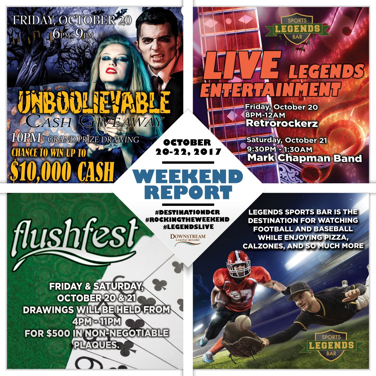 It's another great weekend for coming to Downstream Casino Resort. #destinationDCR #DCRweekends #legendslive