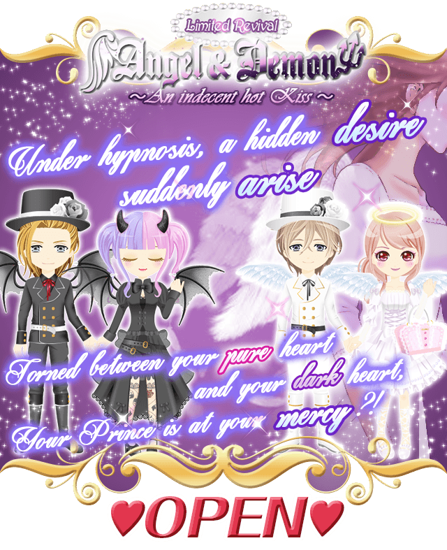 [Royal Midnight Kiss]  Revival of the Limited Event &quot;Angel &amp; Demon&quot; is now OPEN!  #OKKO Otome #Otomegame #VisualNovel #Romance #Otoge<br>http://pic.twitter.com/FaZKNS0Jl0