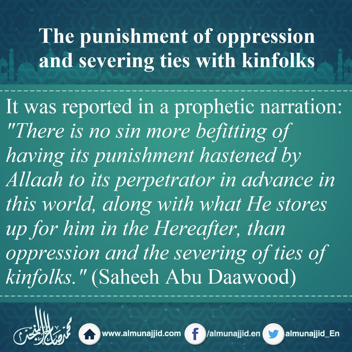 The punishment of oppression and severing ties with kinfolks  #punishment #oppression #kinfolks #sin #Allah<br>http://pic.twitter.com/fEAnEGwf8E