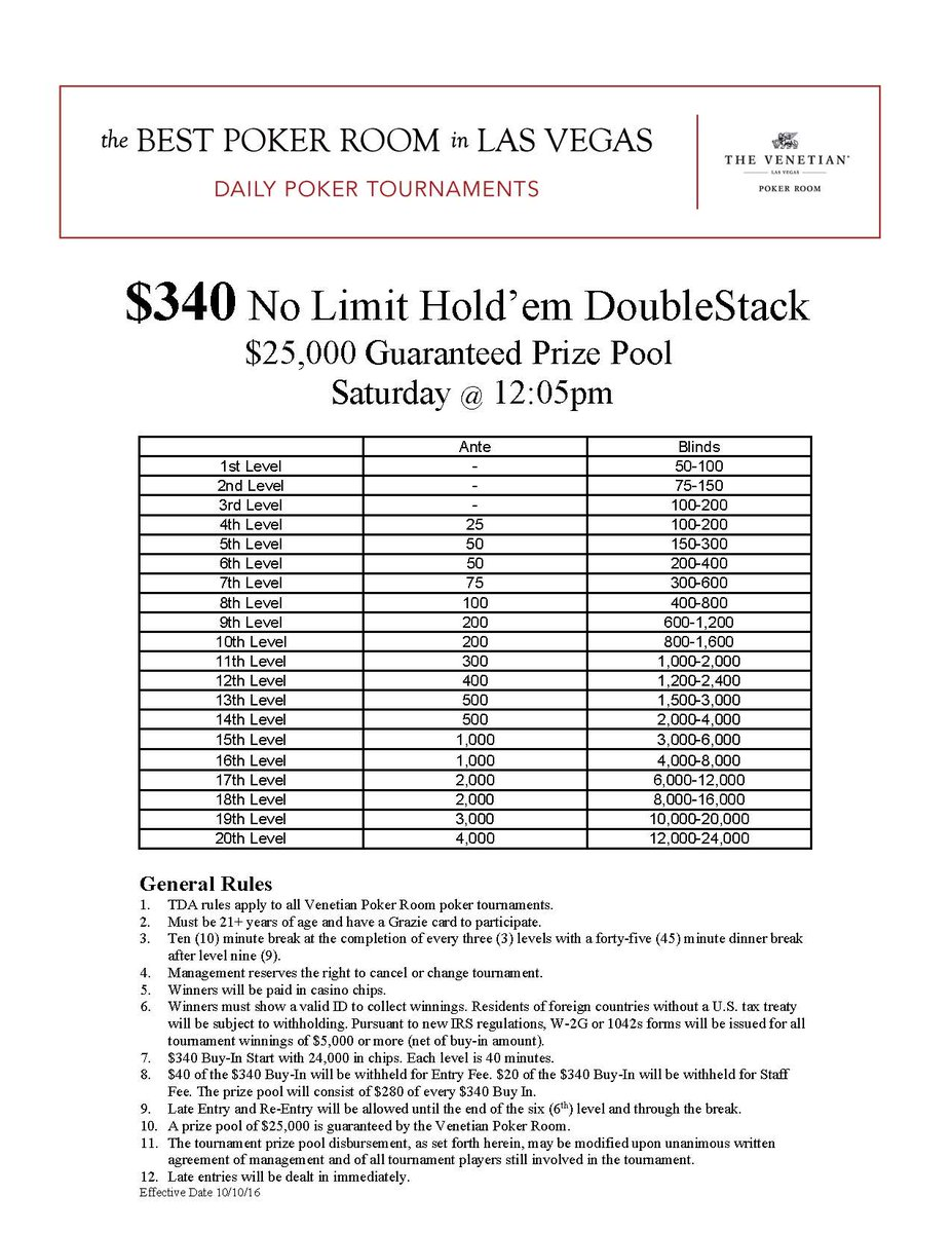 Venetian poker tournament registration gambling recovery worksheets