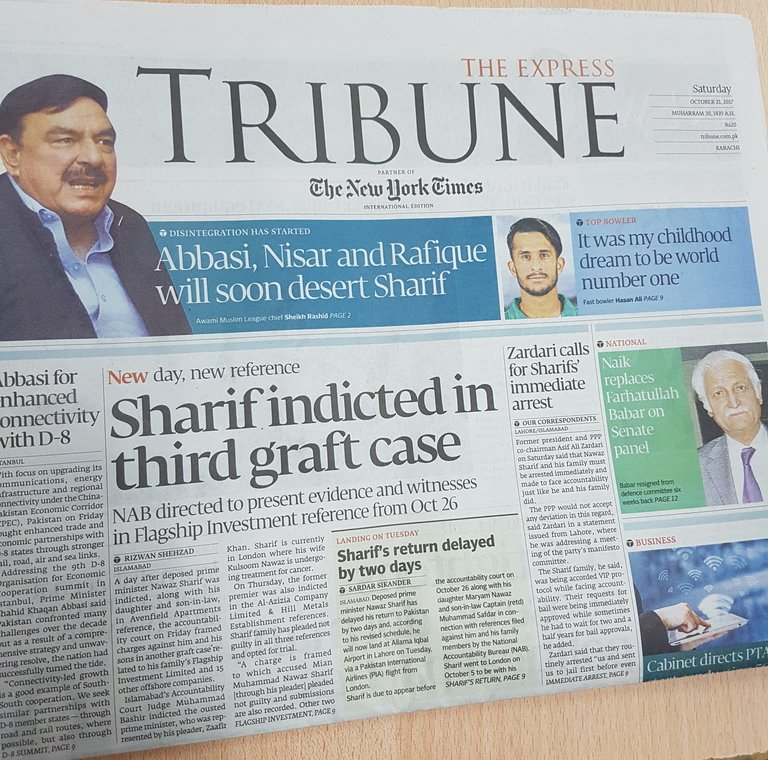 Front page of The Express Tribune, Saturday, October 21, 2017 https://t.co/uT5jSYPON4