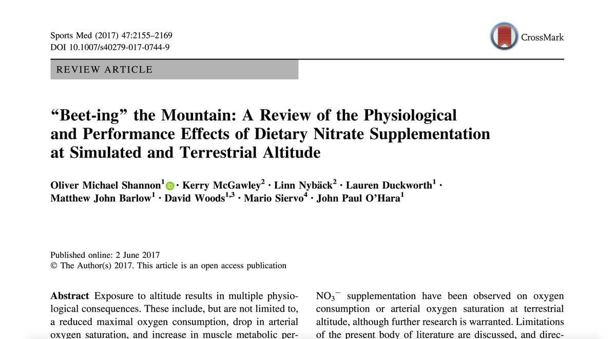 Iocdipspnut On Twitter Beet Ing The Mountain Physiological And Performance Effects Of Tary Nitrate Supplementation At Alude