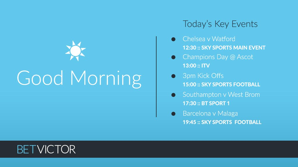 A cracking day of football ahead and it's #ChampionsDay from Royal Ascot.  Happy Saturday!