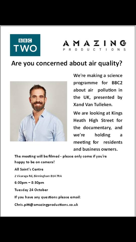 Concerned about air pollution in Kings Heath? @xandvt @KingsHeathRF need your help, Meeting on Tuesday next week #KingsHeath #green <br>http://pic.twitter.com/NCS6CGwjBq