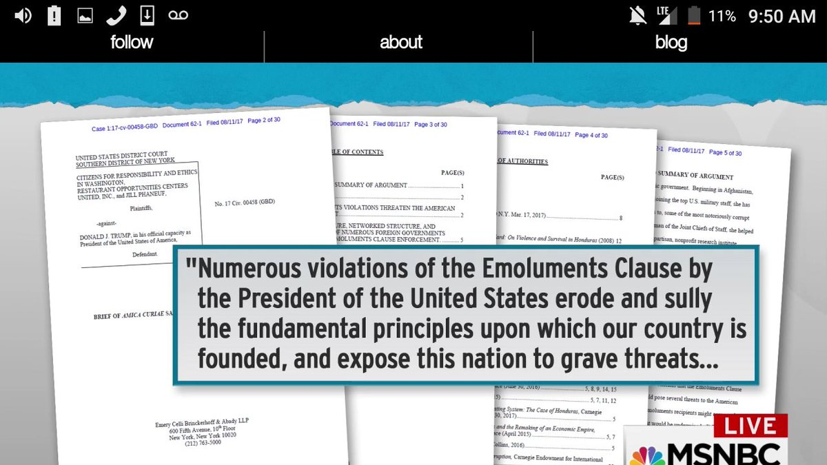 Sarah Chayes has filed a MUST READ amicus brief in #EmolumentsClause lawsuit against #Trump  #TheResistance #CNN #MSNBC<br>http://pic.twitter.com/VfwXCndwRP