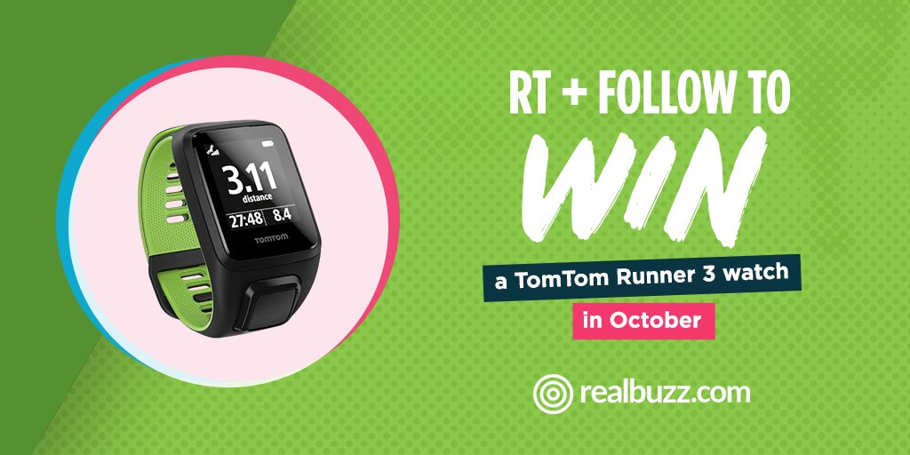 RT + Follow to WIN a TomTom Runner 3 Watch this month. Closing date 31st October 2017. Good luck! #realbuzzTomTom3OCT #win #competition <br>http://pic.twitter.com/TVawjCleKi