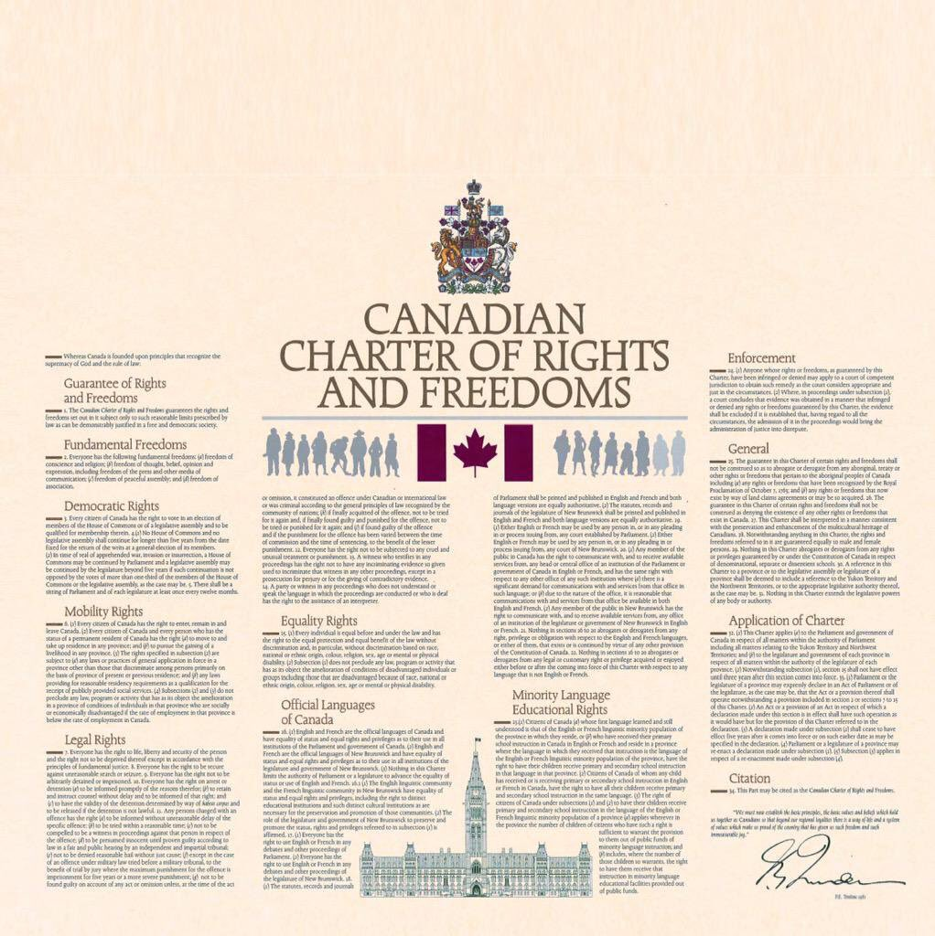 """The #Charter """"continues to influence the creation and interpretation of laws and policies in Canada."""" Some examples:  http://www. justice.gc.ca/eng/csj-sjc/ch arter-charte/cases.html &nbsp; … <br>http://pic.twitter.com/8WcuaiiYwY"""