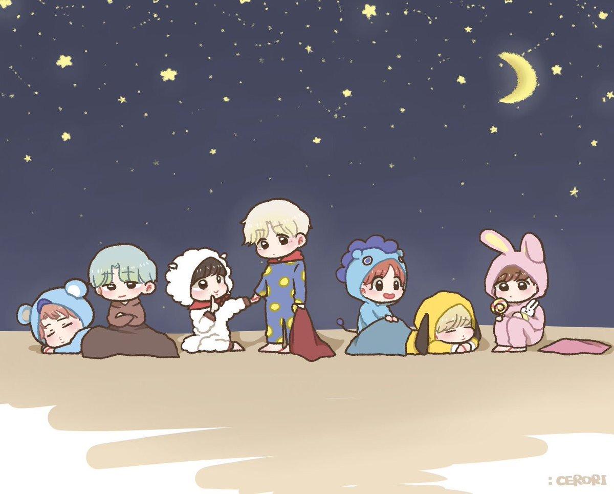 〈🌙BTS × BT21🌙〉 #btsfanart #seokjin #yoon...