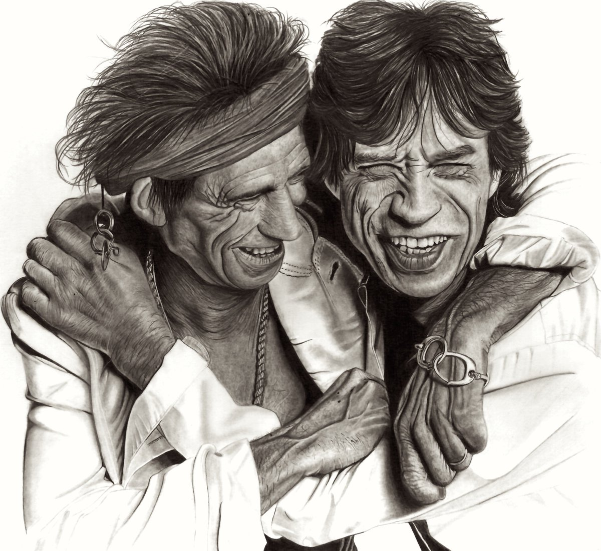 My Latest #Pencildrawing of @MickJagger &amp; #Keithrichards from the @rollingstones drawn with @fabercastell #Pencils  http://www. stowe.gallery  &nbsp;  <br>http://pic.twitter.com/HmGzeJEGb9
