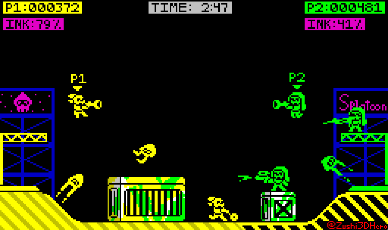 Inspired by @PixelArtM&#39;s art, I tried to make a #ZXSpectrum styled @Splatoon! Looks more like Atari but I like it anyway! #demake #pixelart <br>http://pic.twitter.com/3JoNS0NsxO