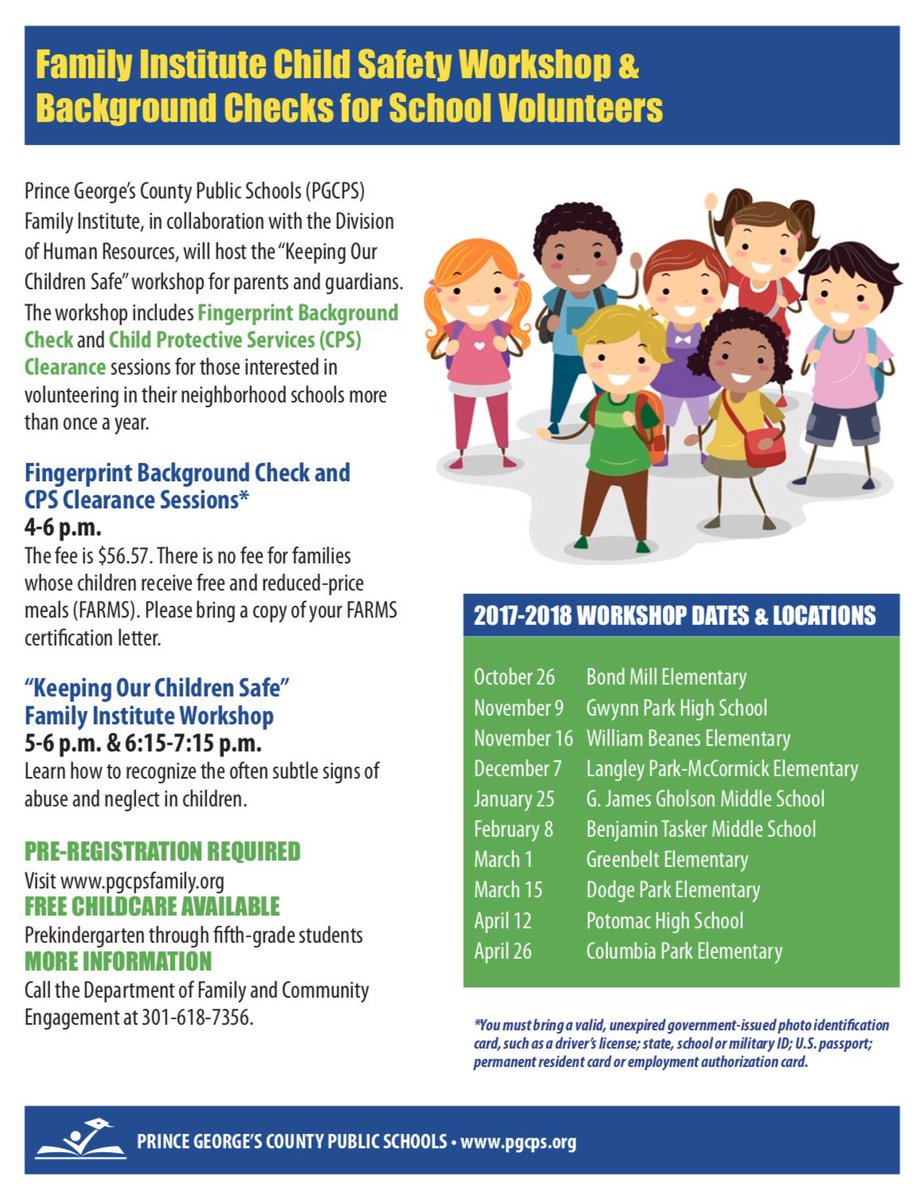 Pgcps on twitter volunteers prospectiveregister for an pgcps on twitter volunteers prospectiveregister for an upcoming child safety workshop w onsite background checks register httpstu78xu6pxh9 1betcityfo Image collections