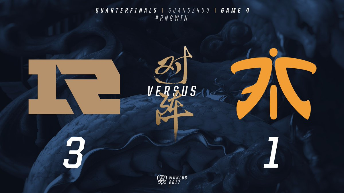 RT lolesports: Royal Never Give Up win the series against FNATIC 3-1 and advance to the #Worlds2017 Semifinals! #R… <br>http://pic.twitter.com/9HxaxHN2IA