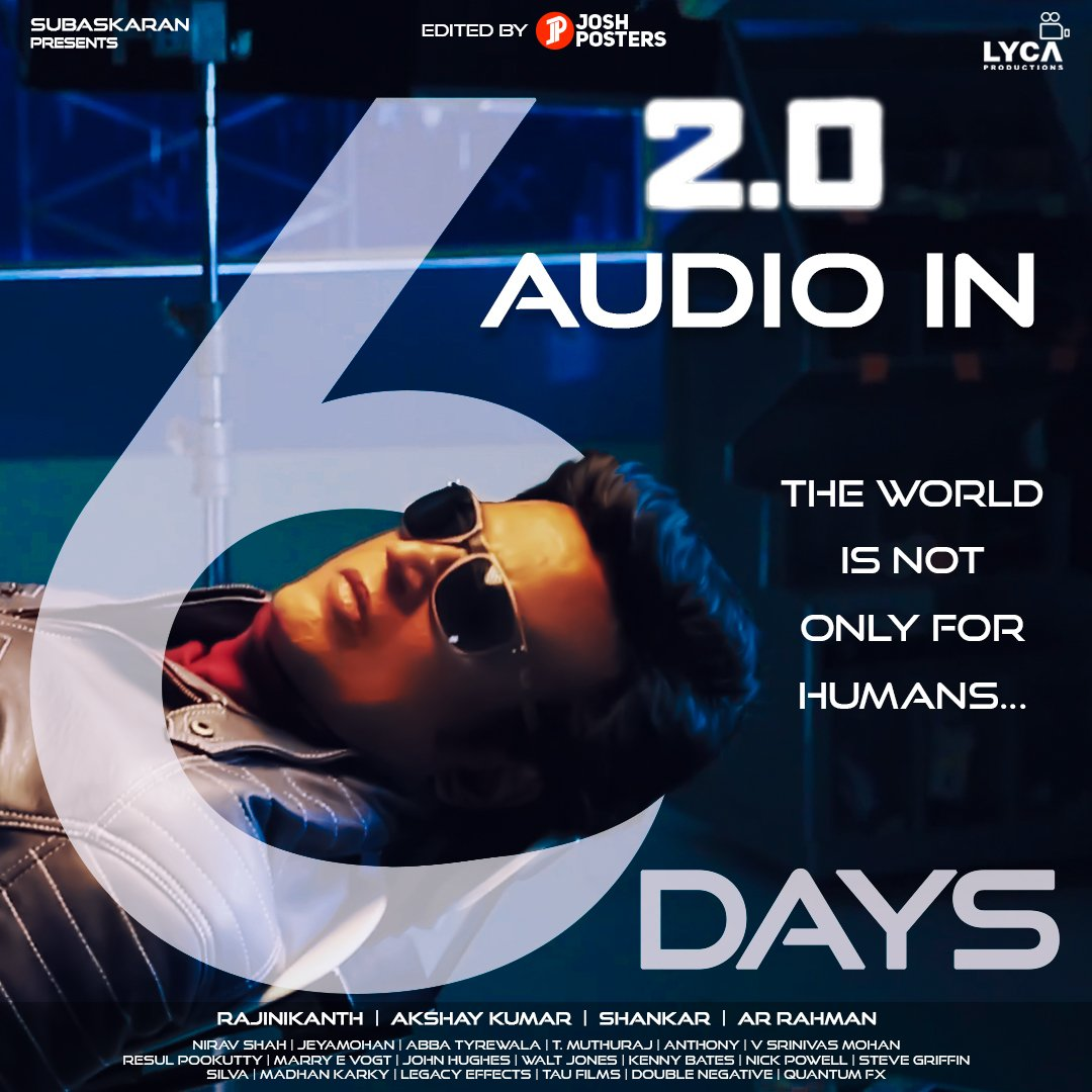 Only 6 days to go for the most awaited 2.0 audio launch in Dubai. Many VIPs are expected for the event. #2Point0 #2Point0AudioLaunch<br>http://pic.twitter.com/4ir0zKBANh