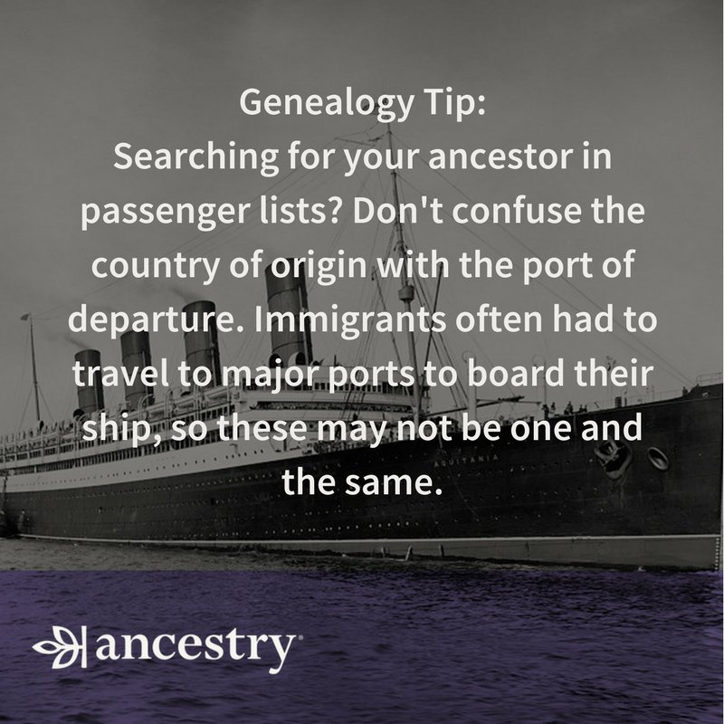 Don&#39;t confuse the country of origin with the port of departure on passenger lists! #Genealogy #Ancestry<br>http://pic.twitter.com/brWEuztWwj