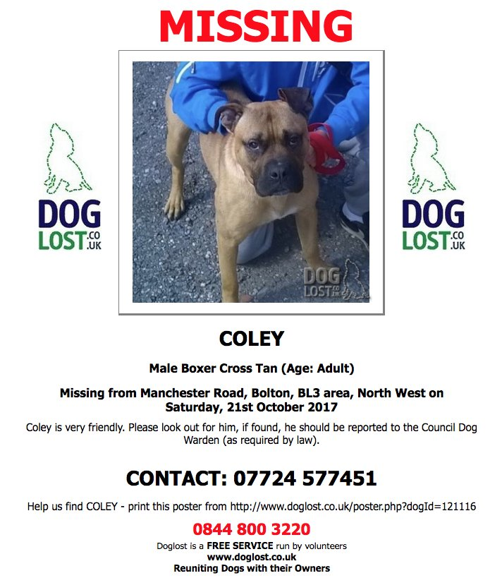 #LOST  COLEY Male #Boxer Cross #Bolton #BL3 #Lostdog  http://www. doglost.co.uk/dog-blog.php?d ogId=121116#.WetUtBOPJUc &nbsp; … <br>http://pic.twitter.com/t82NfQVULn