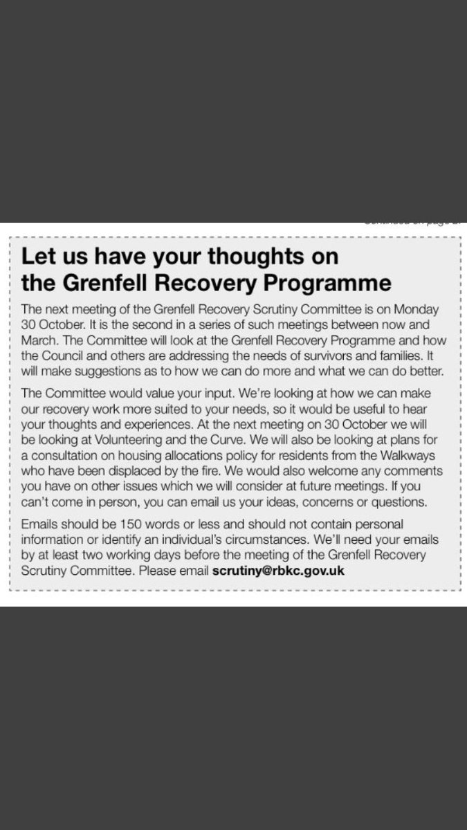 #Grenfell #Recovery #Scrutiny #Committee #Meeting 30/10. Your voice welcome email them below. #Solidarity #United #Justice4Grenfell <br>http://pic.twitter.com/ziIeegtl9f