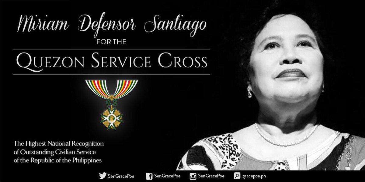 RT if you agree that Senator Miriam Defensor Santiago deserves the Quezon Memorial Service Cross. #MiriamIsForever
