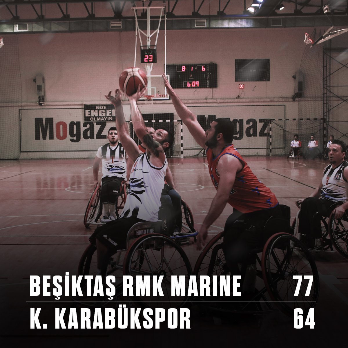 #BeşiktaşRMKMarine Süper Lig\'in ilk haftasında K. Karabükspor\'u 77-64 yendi. Tebrikler #EngelsizKartallar #Beşiktaş