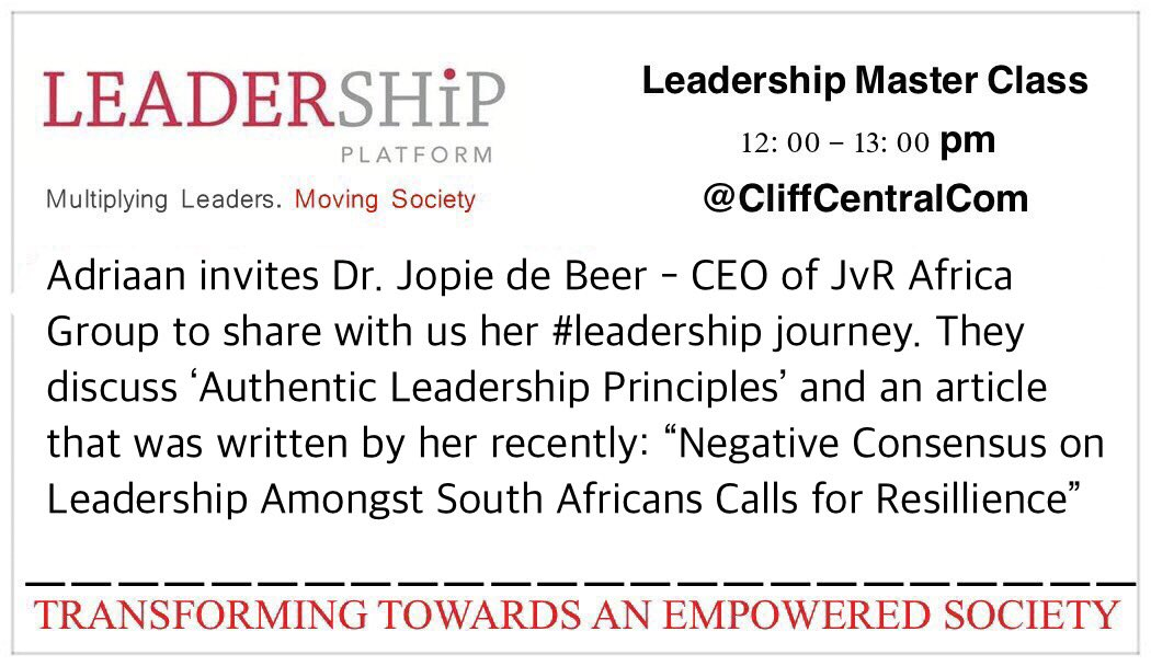 #Leaders @AdriaanG_LP &amp; @JopiedeBeer CEO at @jvrafrica discuss: #LEADERSHIP! Monday 12pm @CliffCentralCom - Tune in<br>http://pic.twitter.com/0RVjXVtwL7